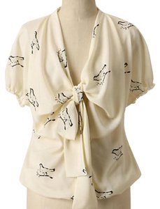 Anthropologie Top Cream and blue