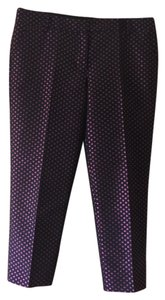 J.Crew Capri/Cropped Pants Black with magenta and blue pattern