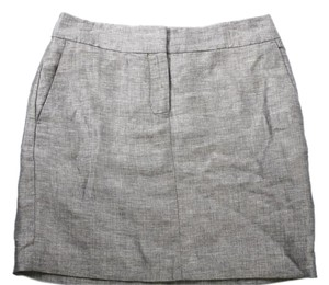 Ann Taylor New Linen Blend Pencil Dress Mini Skirt GRAY