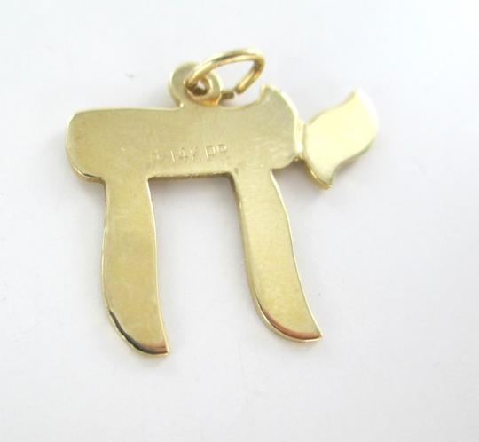 Other 14K SOLID YELLOW GOLD PENDANT CHAI JEWISH JEW SYMBOL PROTECTION FINE JEWELRY