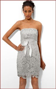 Adrianna Papell Silver Lace Sheath Dress