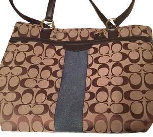 Coach Tote in Brown, Beige , And Teal Stripe On Front