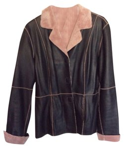 Marvin Richards Brown with pink fleece-like lining Leather Jacket