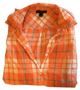 J.Crew Button Down Shirt Orange Plaid