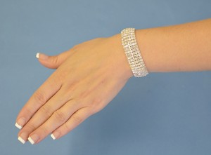 Clear Rhinestone Multi Row Stretch Bracelet