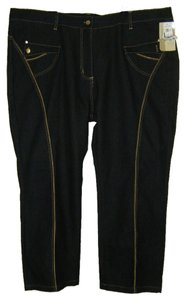 FINEJEANS Plus Sz 30 Womens Straight Leg Jeans-Dark Rinse