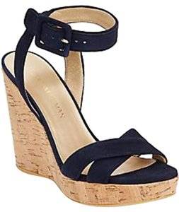 Stuart Weitzman Leather Wedge Suede Sandal Navy Wedges