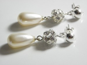 Cream Teardrop Pearl and Crystal Stud Teardrop Earrings