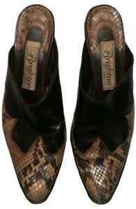 Brighton Snakeskin Embossed Brown/Beige Mules