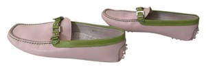 Praerie Driving Loafer Mocassins Pink & Lime Green Flats