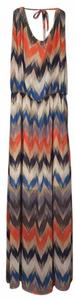 Multi: Blue/Orange/White Maxi Dress by Olive + Oak