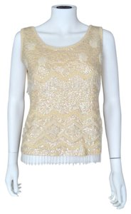 Vintage Sequin Beaded Beads Fringe Top Ivory