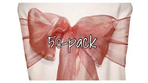 Lot Of 50 Brand New Dusty Rose Organza Chair Sashes