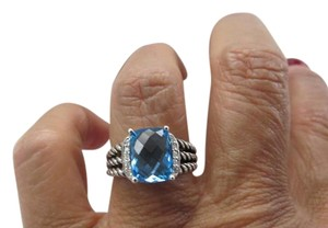 David Yurman David Yurman The Wheaton Collection - Petite Blue Topaz and Diamond Ring, Size 6.5