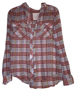 Free People Flannel Freepeopleflannel Button Down Shirt Pink, blue