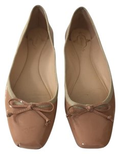 Footcandy Ballet Square Toe Patent Leather Tan Nude Flats