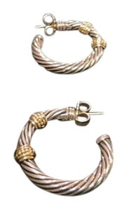 David Yurman David Yurman Sterling Silver and 14k Gold Open Hoop Earrings
