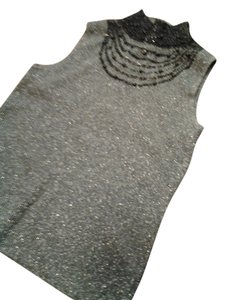 Evie Lou Silk Beaded Top gray black
