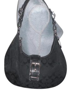 Coach Vintage Signature Jacquard Leather Buckle Hobo Bag