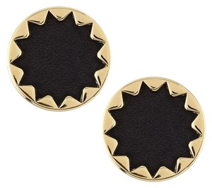 House of Harlow 1960 Black Leather Starbust Gold Stud Earrings