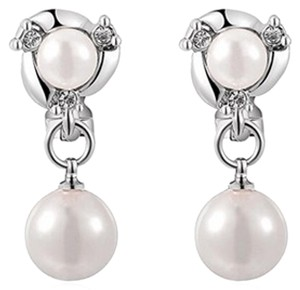 Freestyle Clip On Chic Pearl & Crystal Dangle Drop Earrings in Gold Plated