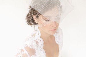 Brand New Ivory French Netting And Tulle Birdcage Vei