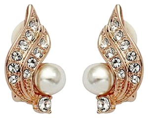 Freestyle Clip On Pearl & Crystal Angel Wing Earrings in Gold Plated