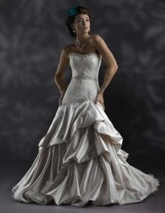 Christina Wu Ivory Or White Satin/Lace 1591001 Formal Wedding Dress Size 14 (L)