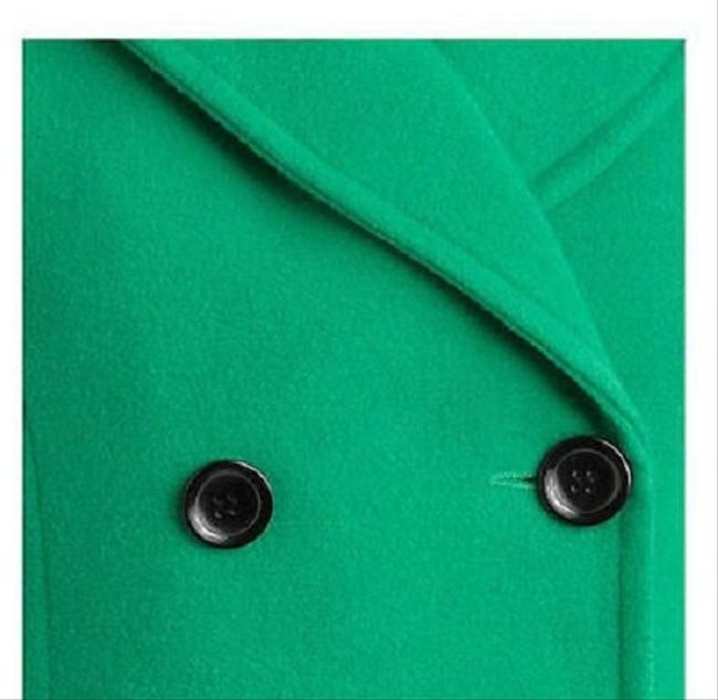 IB Diffusion Pea Jacket Green Emerald Wool Length Breasted Designer Trend Style Medium M Lined Button Detail Cuff Pocket Classic Pea Coat