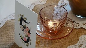 Arcoroc France Pink 24 Swirl Depression Glass Tea Cup and Saucer 2 Sets Available Tableware