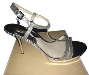 Michael Kors Glitter Strappy Prom silver Platforms