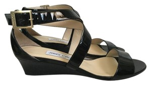 Jimmy Choo Patent Leather Straps Black Wedges