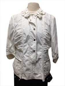 Tahari Off White Jacket Blouse Button Down Shirt Ivory