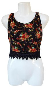 Fashion Dazzle Floral Crochet Crop Open Sides Top black, red