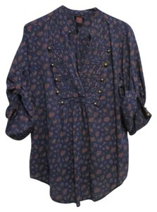 Torrid Military 1x Button Down Shirt Navy Floral