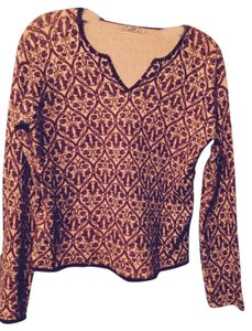 Chic Star Sequins Embroidered Cool Boho Unique Top Ivory and Bronze