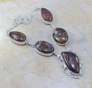 Sterling Silver Plated Dark Jasper Necklace Free Shipping