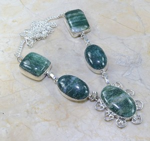 Green Aventurine Sterling Silver Plated Bib Necklace Free Shipping