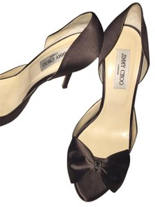 Jimmy Choo Brown Satin Pumps