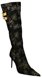 Victoria's Secret Black and Gold Boots