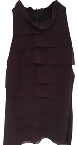 Vince Silk Sleeveless Ruffled Top Eggplant