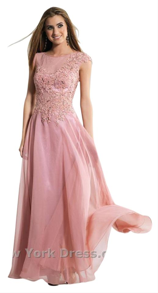 45adf016f72 Dave   Johnny Dusty Rose Illusion Neckline Long Formal Dress Size 6 ...