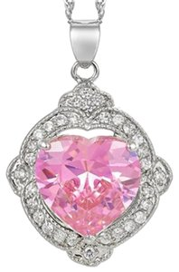 Freestyle Heart Gemstone Pendant with Chain/Necklace in White Gold Plated