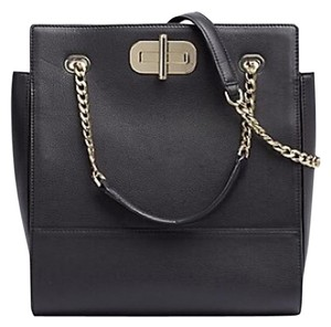 Tommy Hilfiger Lavish Pebbled Leather Gold-tone Hardware Turnlock Closure Designer Fashion Tote in Black