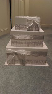 Card Box / Wedding Box / Wedding Money Box - 3 Tier - Personalized - Silver