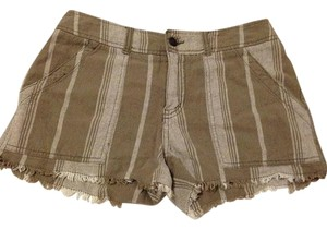 Free People Cutoff Linen Striped Cut Off Shorts Army