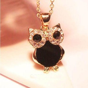 Black & Gold Rhinestone Owl Necklace Free Shipping