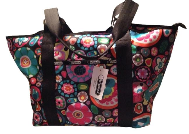 Item - Carryall Tote/ Drops Collection Multi Color Flower Print Nylon Tote