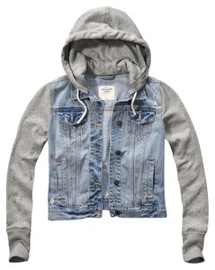 Abercrombie & Fitch Hoodie Light Denim Light Grey Womens Jean Jacket