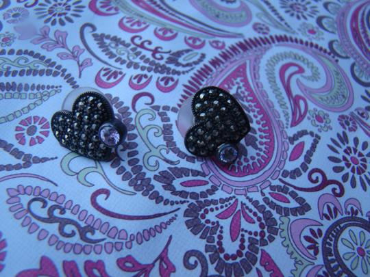 Other Sterling Silver Marcasite Heart Shaped Earrings with Pink Bezel Set Stone